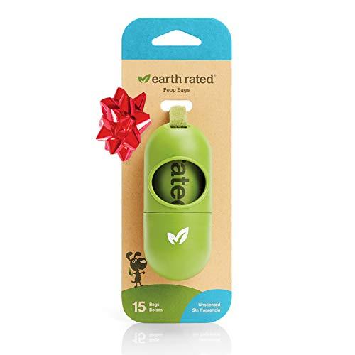 Earth Rated Dog Poop Bags Dispenser, Dog Poop Bag Holder Includes 1 Roll of 15 Unscented Eco-friendly Poop Bags