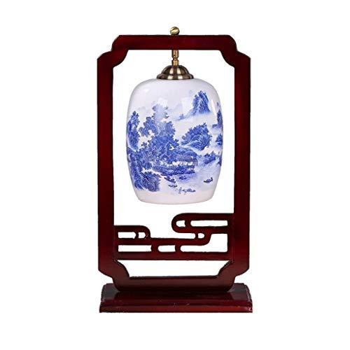 NXYJD Lámpara de Mesa, Azul Dibujo Coloreado de cerámica del Dormitorio de la lámpara de Mesa Lámpara de cabecera Lámpara de Mesa Simple de la Sala