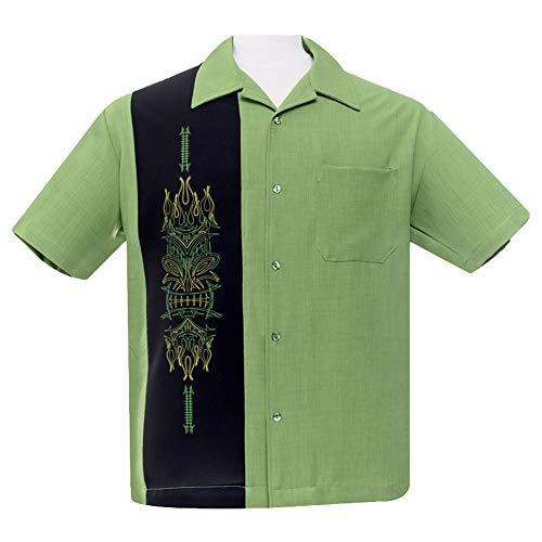Steady Clothing Hemd Freizeithemd für Männer Herren Bowling Shirt Pinstripe Tiki Panel S
