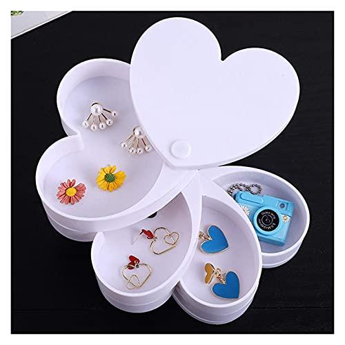 TEAYASON Caja de joyería pequeña transparente giratoria de 360 grados, caja de almacenamiento de joyería con forma de corazón, 4 niveles, para niñas o mujeres, color rosa, blanco
