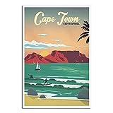 Südamerika-Vintage-Reise-Poster, Kapstadt, Surfen,