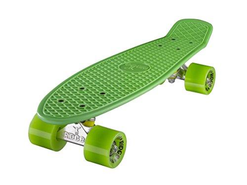 Ridge Skateboard 55 cm Mini Cruiser Retro Stil In M Rollen Komplett U Fertig Montiert, Unisex, Verde (Vert/Vert)
