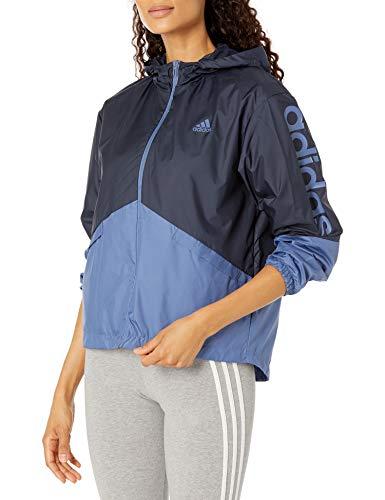 adidas,Womens,Linear Windbreaker,Legend Ink/Crew Blue,XX-Large
