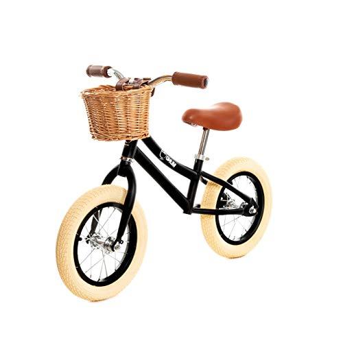 MUNDO PETIT - Bicicleta Sin Pedales - Bicicleta Niño - Bicicleta Aprendizaje 12' - Incluida Cesta de Mimbre - de 2 a 5 y 6 años (Negro)