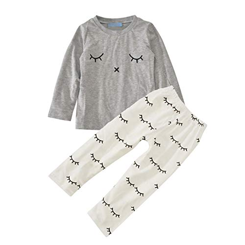 De feuilles Ensembles Bébé Fille T-Shirt & Pantalon Manches Longues Col Rond Pyjama Rayure Doux et Souple Gris 6-12 Mois (Tour de Poitrine 52 cm)