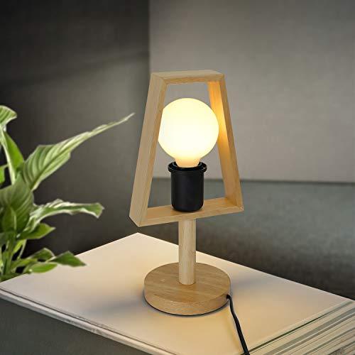 GBLY lámpara de mesa lámpara de noche de madera vintage E27 con...