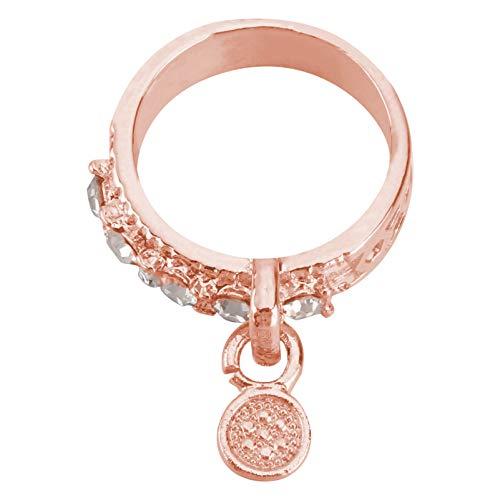 Holibanna Women Zircon Stone Ring Alloy Round Anillo de Compromiso Anillo de Compromiso Anillo de Compromiso para Navidad Regalo de Cumpleaños Tamaño 8 Oro Rosa