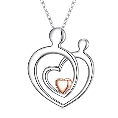 Amazon - Save 40%: 925 Sterling Silver Cubic Zirconia I Love You Mom Heart Necklace for Wome…