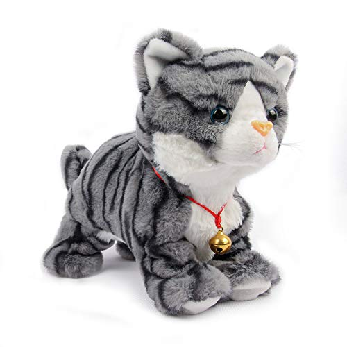 Smalody Plush Toys, Novelty Sound Control Electronic Cat Interactive Toys Electronic Pets Robot Cat for Children Kids (Grey)