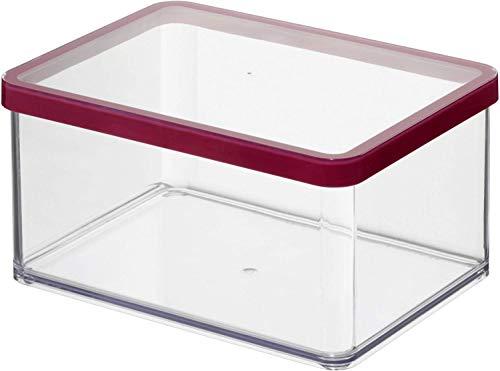 Rotho Loft rechteckige Vorratsdose 2,25l mit Deckel und Dichtung, Kunststoff (SAN) BPA-frei, transparent/rot, 2,25l (20,0 x 15,0 x 9,6 cm)