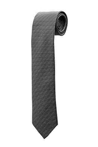 Cravate noire mat à petits motifs carrés DESIGN costume homme mariage cérémonie