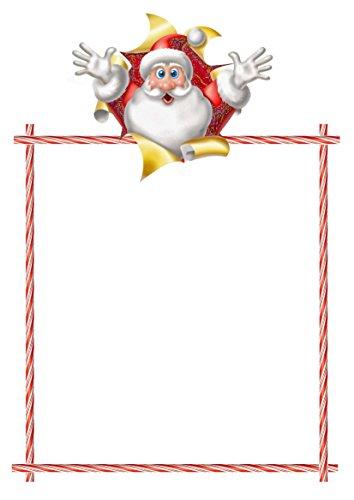 Lot de 50 feuilles de papier à lettre pré-imprimé sur le thème du Père Noël Arthur