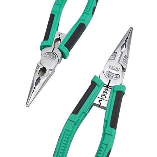 Long Needle Nose Pliers Heavy Duty Combination Side Cutting Pliers with Wire Stripper/Crimper/Wire Cutter Function 8 inch CRV Multifunctional Industrial Electrician Pliers