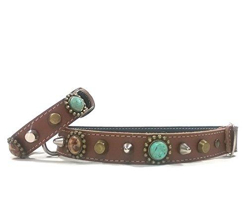 Superpipapo Set Braun Leder Hunde-Halsband mit Passendem Leder-Armband für Kleine und Mittelgroße Hunde, Bohemian Stil mit Schönen Türkis Steinen, 40 cm XS-Wide: Halsumfang 25-30 cm, Breit 28mm
