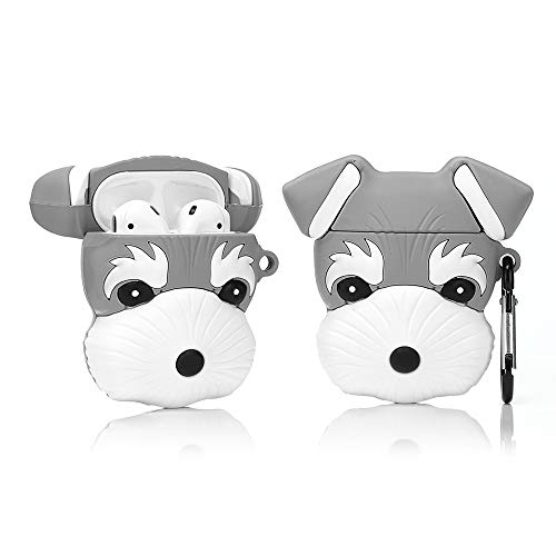 LEWOTE Airpods Funda de Silicona Divertida Compatible con Apple Airpods 1 y 2 [Animal Pet Series] Niñas o Parejas (Schnauzer)