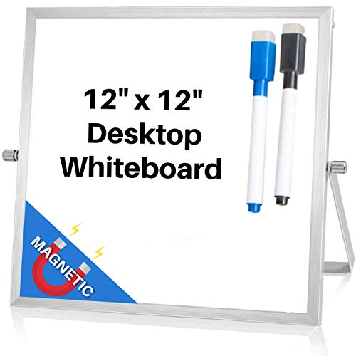 Small Magnetic Dry Erase Whiteboard for Desktop | 12x12 Inch White Board Includes 2 Free Markers w/ Magnetic Eraser CAPS!! | Mini Dual-Sided Easel 360° Rotation | Bedroom, Office, Home, Classroom