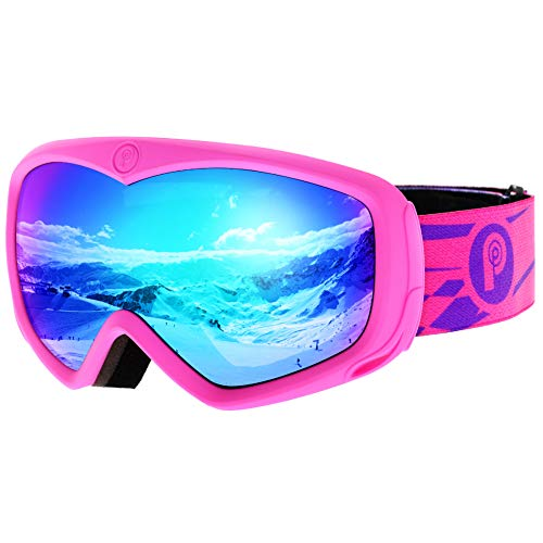 Picador Ski Goggles Over The Glasses With Anti-Fog UV400 Protection Lens For Youth And Kids (Pink)