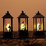 Manyo - Juego de 3 farolillos LED para decoración de Halloween con calabaza y bruja, velas decorativas falsas LED sin llama