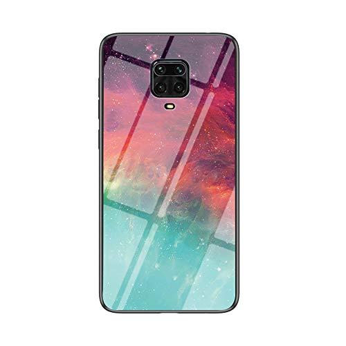 BaiFu Funda para Xiaomi Redmi Note 9S Cubierta de Cristal Degradado de Color Caja de Vidrio Templado Case Cover para Xiaomi Redmi Note 9S (Color Estrellado)