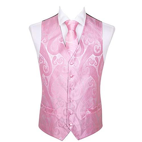 Chaleco clásico de jacquard negro folral de seda para hombre, chaleco con pañuelo y corbata, conjunto cuadrado