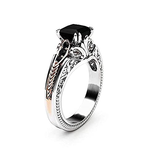 Vintage 925 Sterling Silver Black Gem Ring Cocktail Rings Square Cut Black Onyx Marcasite Cubic Zirconia Anniversary Promise Ring CZ Eternity Engagement Wedding Band Ring for Women TZ.37 (US Code 8)