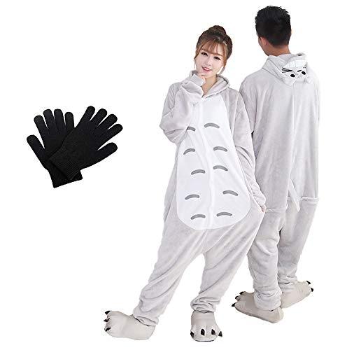 Kigurumi - Pijama de una pieza para disfraz de animal de Onesies para carnaval, Navidad, Halloween, fiestas, Cosplay de una pieza, cálido y suave con guantes de invierno Totoro L
