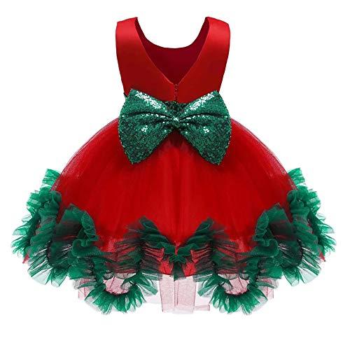 Rode en groene jurk kostuum met strik voor meisjes - Kerst kostuum perfect voor Kerstmis, Carnaval & Cosplay Height 130 Rood-groen
