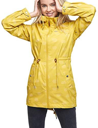 mazine - Damen - Regenjacke 'Library Rain Parka' - Streetwear Fashion Summer Spring Design - Yellow/Cloudy - 36 (Herstellergröße: S)