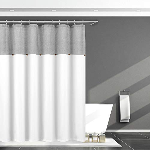 """Home Maison Farmhouse Shower Curtain Button Gray and White Shower Curtains for Bathroom, 72"""" x 72"""""""