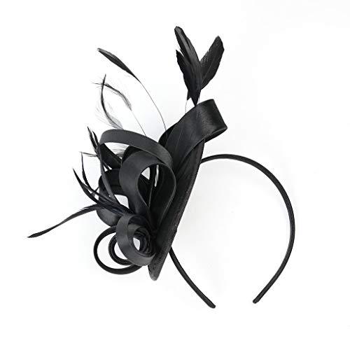 YWLINK Fascinators Hut Blume Mesh BäNder Federn Auf Einem Stirnband Cocktail Tanzparty Party Retro Headwear FüR MäDchen Und Damen 1920er Jahre ZubehöR Stirnband Klassisch