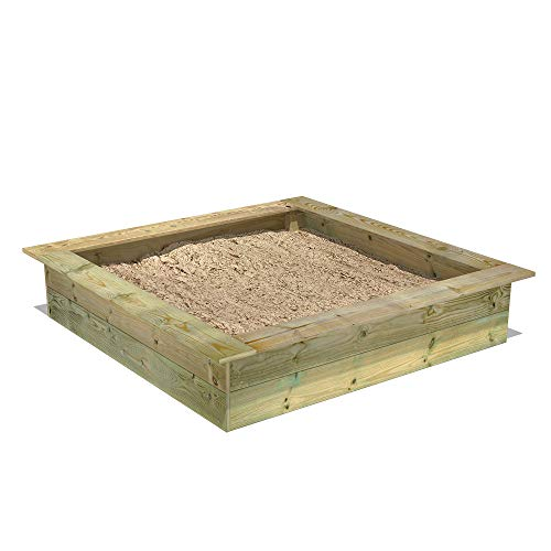 FATMOOSE Sandkasten Holz Sandkiste PowerPit 145 x 145 cm