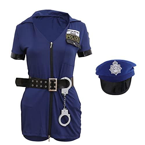 SOIMISS Women Girls Police Costume Police Cop Dress Hat Belt handcuffs Officer Uniform Halloween Cospaly Costume Dress- Up Set