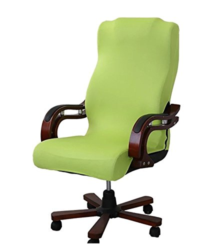 Deisy Dee Slipcovers Cloth Universal Computer Office Rotating Stretch Polyester Desk Chair Cover C064 (Lemon Green)