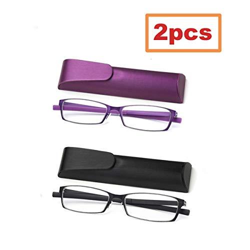 2 Stuks Anti Bluelight Leesbril Voor Vrouwen Mannen, Unisex Fashion Square HD Glazen Readers, Ultra-Clear/Anti Eyestrain