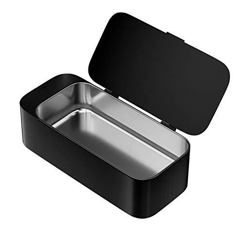 Limpiador portátil Gafas Joyas Anteojos Lente Reloj Anillo Moneda Cabeza de afeitar Collar Máquina de limpieza de baño Negro