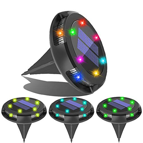 Solar Ground Lights Outdoor - Solar Garden Disk Lights,Multi-Color Auto-Changing 10 LED Waterproof In-Ground Outdoor Landscape Lighting for Lawn Patio Pathway Yard Deck Walkway Flood Light (4 Pack)