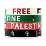 GROBRO7 24Pcs Free Palestine Bracelets Save Gaza Silicone Wristbands with Palestinian Flag for Supporting the Palestine of Peace and Freedom Against War Waterproof Comfortable 4 Colors Adult Size