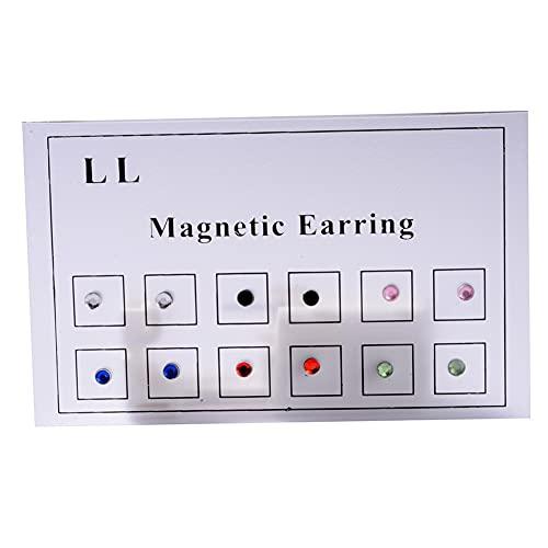 6 pares de pendientes magnéticos sin perforación, Acero Inoxidable Imanes Pendientes Magnéticos, pendientes magnéticos con cristales de imitación de cristal, joyería de moda no perforantes