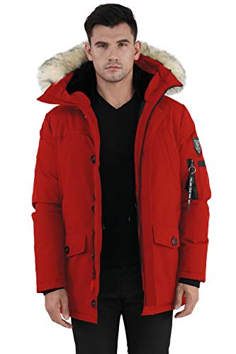 Molemsx Mens Down Jacket, Men's Warm Parka Puffer Jacket for Cold Weather Classic Club Padded Jacket Winter Down Jacket with Hood Faux-Fur Trim for Men Red,