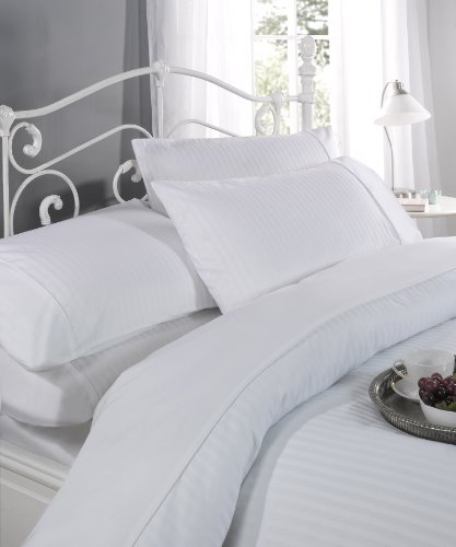 Ritz Cotton Duvet Cover and Pillowcase Set 300 Thread Count White Satin Stripe King Size