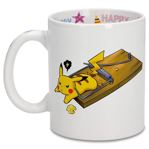Mug Anniversaire avec impression sur la anse, l'intérieur et l'extérieur - parodie Pokémon - Pikachu - Piège à souris(Mug de qualité supérieure idéal pour un cadeau d'anniversaire - imprimé en Fran