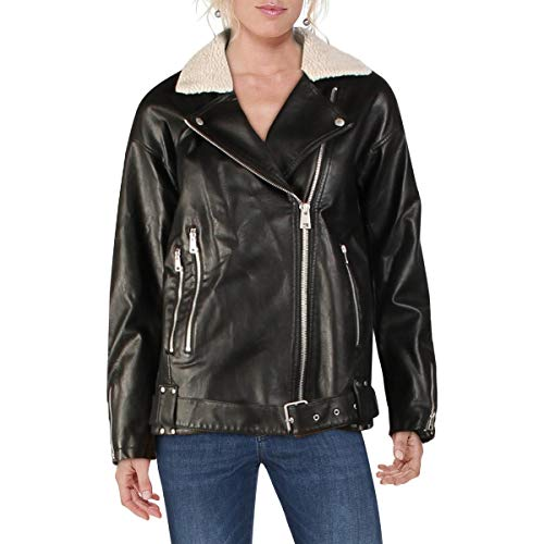 Levi's Women's Oversized Faux Leather Belted Motorcycle Jacket (Standard & Plus Sizes), Black Sherpa Lined, X-Small