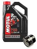 Duo Servicio Cambio Aceite Motos- Motul 7100 4T 10W-40 sintetico 4 litros + filtro aceite OC575