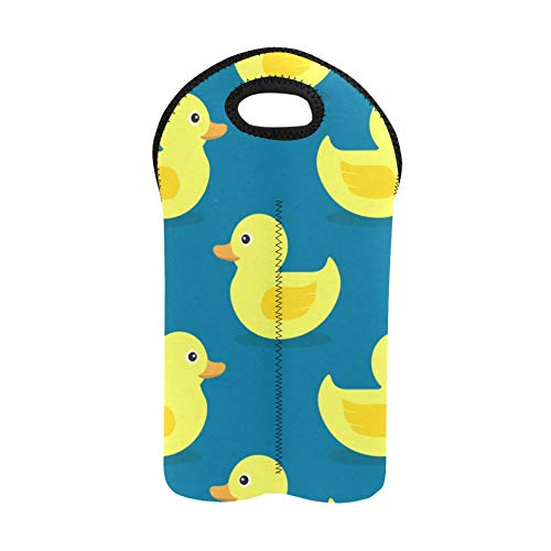 Wine Bag for Travel Duck Lovely Yellow Cute Everday Wine Tote Double Bottle Carrier Wine Picnic Bag Thick Neoprene Wine Bottle Holder Keeps Bottles Protected