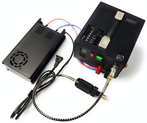 12 V PCP luchtcompressor, draagbaar. 12V AVEC CABLES + CONVERTISSEUR ET PRISE 220V zwart.