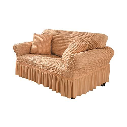 LZstrong Seersucker Sofabezug, Stretch Sofa Schonbezüge, Rutschfester Sofa Schonbezug Mit Elastischem Boden Für Wohnzimmer Hund Haustier Möbelschutz (Orange,3 Seats)