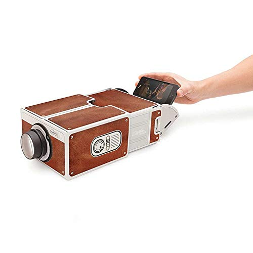 Tree-de-Life Mini Portable Cardboard Smart Phone Projector 2.0 Mobile Phone Projection for Home Theater Audio & Video Projector brown