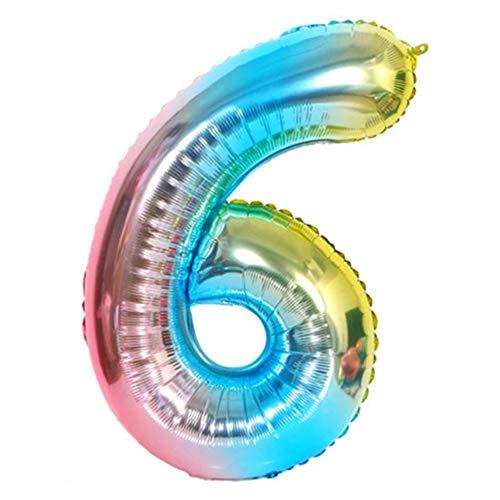 DIWULI, XXL Zahlen-Ballons, Zahl 6, blau bunt Schillernde Regenbogen Luftballons, Zahlenluftballons, Folien-Luftballons Nummer Nr Jahre, Folien-Ballons 6. Geburtstag, Party, Dekoration, Geschenk-Deko