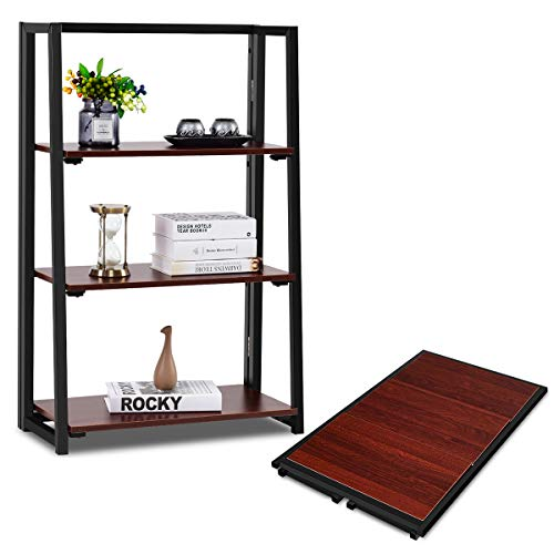Giantex Folding Bookshelf Bookcase W/ Top Shelf No Assemble Industrial Ladder for Living Room Bedroom Balcony, Multifunctional Plant Flower Display Stand Shelf Decor, Espresso (3 Tier)