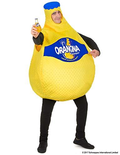 Vegaoo - Orangina Flasche Kostüm für Erwachsene gelb - Einheitsgröße